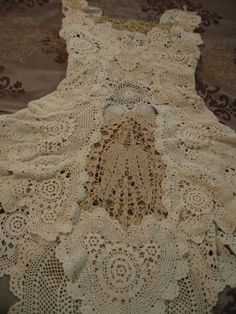 Upcycled Crocheted Doily Wedding Dress- Another idea of things to look for at dollar stores or good will etc