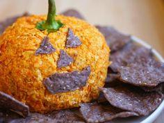 Halloween Recipes : Nacho Jack-o'-Lantern Cheese Ball