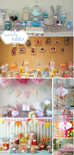 More candy buffet ideas! And I like the photos on the wall behind the one table.