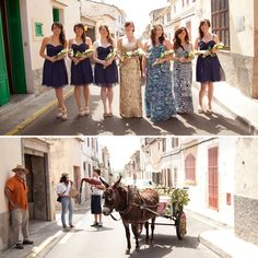 Gorgeous wedding in Mallorca with a bride in gold and a donkey drawn cart
