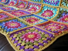 many different granny squares - afghan