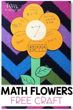 This free math flower craft is the perfect addition to your classroom this spring! This is a great way to assess if your students are learning their numbers, ten frames, place value and more, in a FUN way! Find this free craft on my blog! #mathcraft #freebies #misskindergarten