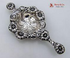 Tea Strainer Art Nouveau Period Repousse Daisy Motif Sterling Silver 1910