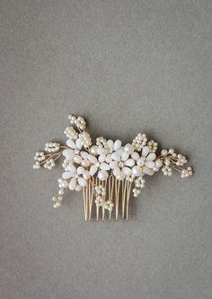 PORTIA Perle Haar Kamm Elfenbein Braut Kopfschmuck Perle