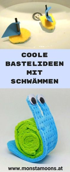 Basteln für den Sommer, Basteln mit Schwämmen, Bastlideen mit Schwamm, sponge crafts, summer crafts, water crafts, Wasser Ideen, Monstamoons