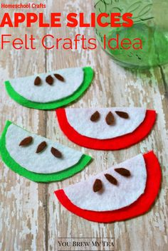 Felt Crafts are a great homeschool craft idea to include for fun and learning… Felt Crafts Kids, Felt Crafts Patterns, Toddler Crafts, Preschool Crafts, Fall Crafts, Diy And Crafts, Felt Kids, Toddler Fun, Apple Activities