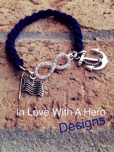 Navy boot blouser bracelet to infinity by InLoveWithAHero on Etsy Proud Navy Girlfriend, Navy Sister, Military Girlfriend, Navy Mom, Military Love, Military Spouse, Carla Diaz, Go Navy, Navy Boots
