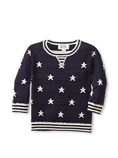 Autumn Cashmere Girl's Stars & Stripes Sweater (Midnight/Parchment)