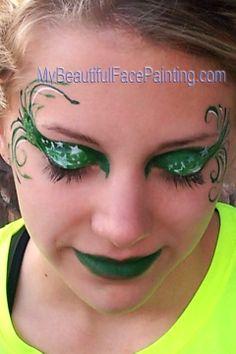 Green Eye Swirl Beautiful Face Painting With An Edge Body