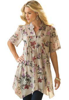 Plus Size Floral Blouse - blouse kopen, ladies chiffon blouse, white blouse short sleeve *ad Fashion Mode, Modest Fashion, Hijab Fashion, Fashion Outfits, Womens Fashion, Floral Blouse, Floral Tops, Modelos Plus Size, Plus Size Tops