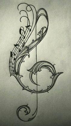 Best Ideas For Tattoo Ideas Music Notes Tatoo Key Drawings, Music Drawings, Tatoo Music, Music Tattoos, Cross Tattoo Designs, Music Tattoo Designs, Tattoo Sketches, Drawing Sketches, Drawing Drawing