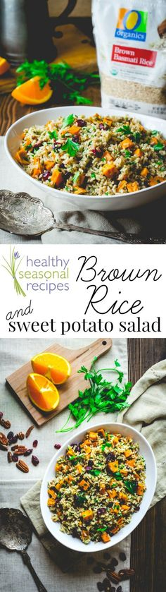 AD: #OrganicforAll @shawsmarket Brown Rice and Sweet Potato Salad for Thanksgiving or Christmas. An easy fall side for a busy weeknight or for a holiday meal. Vegan friendly and Gluten-free! @katie