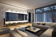 I love interiors with not many pics hanging on the walls. This is really lovely. Living Room Tv, Living Room Modern, Living Room Interior, Living Room Designs, Home Theater Rooms, Home Theater Design, Home Interior Design, Salas Home Theater, Family Room Design