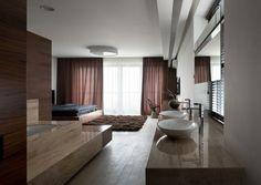 cortinas marrones en el dormitorio moderno