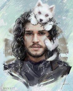 Jon Snow with Ghost. So cute ☺