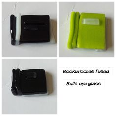 Glass fused bulls eye miniature book broches.