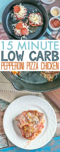 15 Minute Low Carb Pepperoni Pizza Chicken - super easy and delicious, this low carb / keto recipe will be ready in just 15 minutes.  AD https://www.730sagestreet.com/15-minute-low-carb-pepperoni-pizza-chicken/