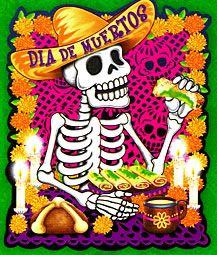 Skeleton eating with Muertos cardboard Dia de Muertos sign