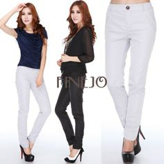 Women's Casual Pencil Pants Slim Trousers FINEJO
