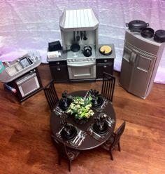 OOAK BARBIE KEN GI JOE KITCHEN 1:6 SCALE FURNITURE TABLE DISHES FOOD ACCESSORIES