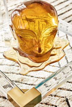 Jonathan Adler adds melting modern to his long list of decorative sculptures. Aptly named the Giant Lucite Icarus Head, this piece is looks fab on a cocktail table, console, or pedestal—or for extra credit it plop it in an unused fireplace.