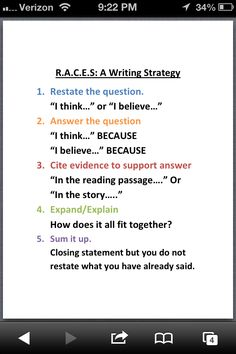 RACES Writing Strategy from Shelbyed.k12.