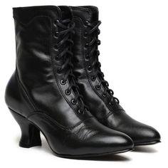 Vintage Renaissance Victorian Costume Granny Black Ankle High Boots VIC35//B//PU