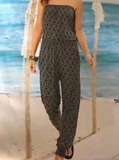 Damen Hosenanzug Overall Sommer Anzug Jumpsuit Gr.40/42 Schwarz-Weiß NEU