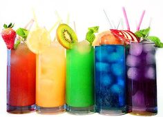Colorful drinks.