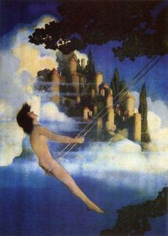 """Maxfield Parrish--The Dinky-Bird  My husband and I have stayed at the """"Maxfield Parrish Suite"""" in Eureka Springs, Arkansas, at Rogue's Manor. It was such a beautiful room, his paintings covered the walls.   Rogue's Manor is a must for a romantic trip!"""