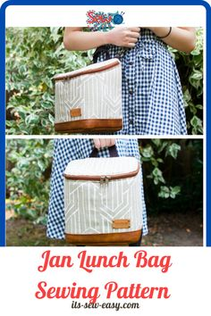 The Jan lunch bag is a well-rounded bag that you can use for work, school, vacations, and for daily errands. It's spacious, stylish and well-built to keep up with your daily demands. You can use the bag to pack your lunches and snacks without struggle and you can use a water proof lining to enable the bag to handle spills more effectively. #lunchbagpatterns#lunchbagsewingpatterns#sewingpatterns#easysewingpatterns#sewinglunchbagpatternsbagsewingpatterns Bag Patterns To Sew, Sewing Patterns, Insulated Lunch Bags, Pattern Making, Lunches, Vacations, Handle, Snacks, Stylish