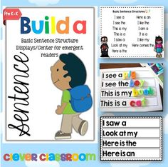 FREE Build a Sentence Display/Center for Emergent Readers This freebie uses some basic sentence structures/starters to help students build simple . Word Work Activities, Literacy Activities, Literacy Centers, Literacy Stations, Reading Centers, Kindergarten Language Arts, Kindergarten Literacy, Rhyming Preschool, Emergent Readers