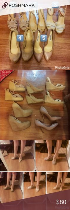 5 PAIRS - Nude heels Steve Madden Aldo Justfab You will be getting ALL 5 pairs. They are listed up individually if you need more pics. 1️⃣Steve Madden suede size 7 Never worn. About 3.75 inches. Bottoms are clean. 2️⃣Aldo suede wedges size 37 ~ 3 inches, minor flaws shows signs of wear.  3️⃣Just fab nude cream sandal wedge espadrilles size 6.5/37 ~3 inches. Like new, worn once bottoms are clean.  4️⃣Aldo wedge suede size 37 minor signs of wear ~4 inches 5️⃣Steve Madden pink blush nude…