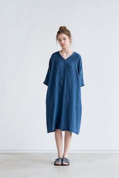 Denim/navy color linen tunic/dress. Washed by notPERFECTLINEN