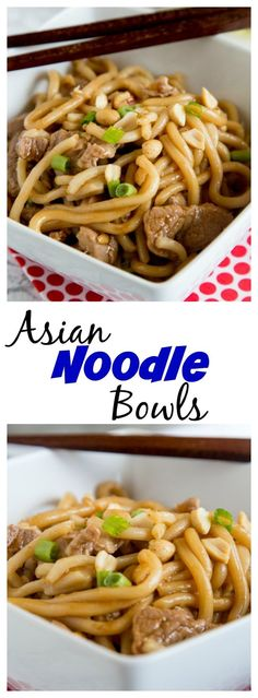 Asian Noodle Bowls with Pork – sweet, spicy, tangy, and oh so delicious! An easy dinner recipe full of so many great flavors. On the table in 30 minutes, and will disappear quickly. dinn