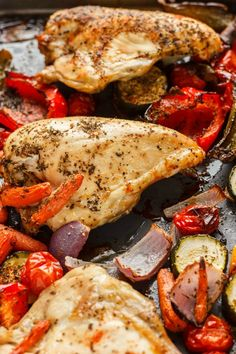 Quick, simple, and a great family favourite, this roasted bone-in chicken breasts with vegetables recipe is perfect on a busy work night. #glutenfree #chicken