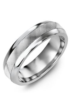b4a9ade630c7 Alternative Metal in Dome Finish with Textured White Gold Inlay. Customize  your own ring.