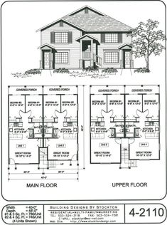 Potential for rear entry two car garages fir single family for Apartment fourplex plans
