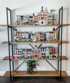 Lego Display Shelf, Lego Shelves, Lego Storage, Lego Room Decor, Lego Wall, Lego Bedroom, Lego For Kids, Lego Modular, Cool Lego Creations