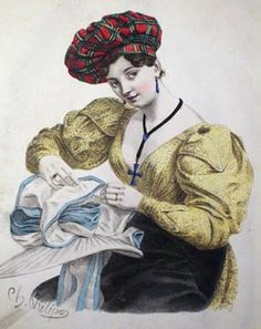 French illustration of hatmaker, wearing a turbanc. 1829