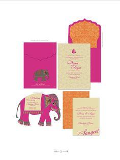 INDIAN SUMMER WEDDING Invitations Bright Fuschia by ArtsyDesignCo