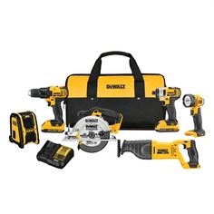 DEWALT Max Power Tool Combo Kit with Soft Case (Charger Included and Included) at Lowe's. DEWALT MAX Compact Cordless Combo Kit features a drill/driver with a transmition, a impact driver offering LED Dewalt Power Tools, Cordless Power Tools, Cordless Drill Reviews, Cordless Hammer Drill, Home Depot, V Model, V Max, Thing 1, Circular Saw