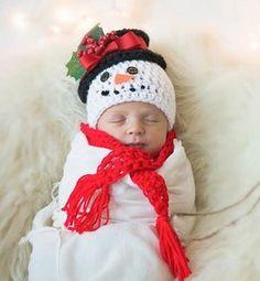 Handmade Crochet Snowman Baby Hat, Infant Frosty Hat, Newborn Baby Shower Gift, Photo Prop
