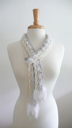 skinny scarf in cloud white - crochet lattice. $42.00, via Etsy.