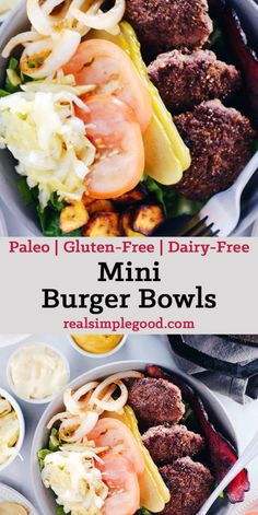 These mini burger bowls are simple, easy to throw together and full of all the goodness you need and want - healthy fats, protein, veggies and greens! Paleo, Gluten-Free + Dairy-Free. | realsimplegood.com