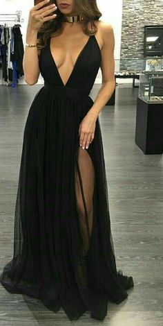Black Prom Dresses,Prom Prom line Prom Dresses,Evening Gowns,Party Dress,Slit Prom Gown For Teens high heels dress shoes Elegant Prom Dresses, Backless Prom Dresses, A Line Prom Dresses, Tulle Prom Dress, Sexy Dresses, Dress Outfits, Formal Dresses, Dress Shoes, Chiffon Dress