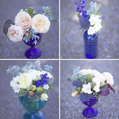 blue glass centerpieces  ideas for different shapes