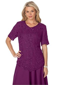 3bc13e61b4497 Roamans Women s Plus Size Sequin Beaded Top Our gorgeous beaded silk plus  size top will sweep you off your feet.