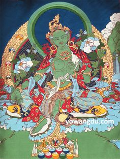 """In Tibetan Buddhism, om tare tuttare ture soha is an ancient mantra that is related to Tara, the """"Mother of all Buddhas,"""" and especially to her manifestation as Green Tara."""