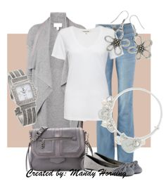 feat. Premier Designs jewelry #pdstyle jeans, white tee, grey cardigan, bag, and flats